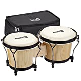 Save 25% On RockJam 7 and 8 Inch Bongo Drum Set with Padded Bag and Tuning Key, Natural