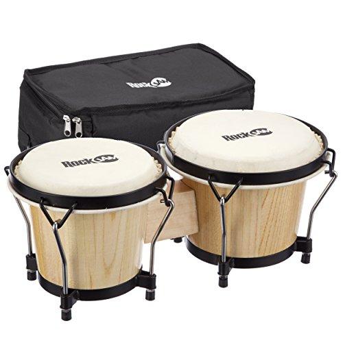 RockJam 7 Zoll und 8 Zoll Bongo-Set mit gepolsterter Tasche & Stimmschlüssel Natur