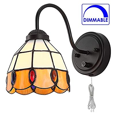 Tiffany Dimmable Wall Mount Lamp, Industrial Vintage Gooseneck Wall Sconce Lighting with Plug in Cord and Switch for Bedroom Nightstand, Living Room
