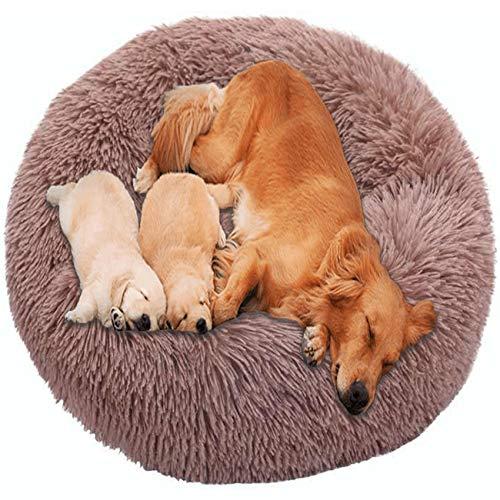 HANHAN Gemütlich Schlafen Hundebett Donut Orthopädisch Extra Groß Kissen Flauschig XXL Komfort Sofa xxxl Waschbar Medium Jumbo Hunde Plüsch Warme Matratze XL Anti Angst Nest Braun