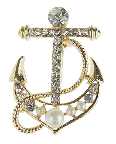 Glamour Girlz Ladies Men's Naval Maritime Boat Lover Faux Pearl Gold Tone Sea Anchor Brooch
