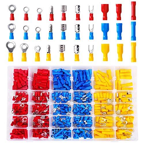 Kabelschuhe Quetschverbinder Sortiment, enthält Ringkabelschuhe, Rundstecker, Rundsteckhülsen, Flachstecker, Flachsteckhülsen, Stoßverbinder und Gabelkabelschuhe (500tlg)