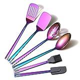 HOMQUEN Set di Utensili da Cucina Arcobaleno, 6 Pezzi di Utensili da Cucina in Acciaio Inossidabile con Placcatura Arcobaleno in Titanio, Set di Utensili da Cucina per Pentole Antiaderenti