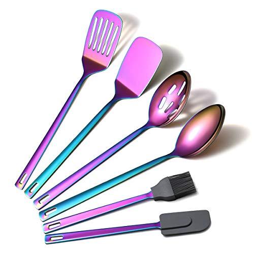 Amazon Brand Rainbow Kitchen Utensils Set, 6 Pieces Stainless Steel Cooking Utensils Set With Titanium Rainbow Plating, Kitchen Tools Set For Non-Stick Cookware Dishwasher Safe (6 Packs)