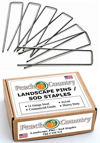 Peach Country Galvanized Garden Stakes Landscape Staples: 6 Inch Sod and Fence Stake - Sturdy Rust Resistant Gardening Supplies for Anchoring, Weed Barrier Fabric, Ground Cover. USA Made (200)