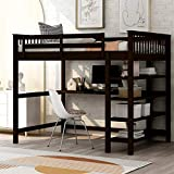 Full Size Loft Bed , Loft Bed with Desk and Storage Shelves, Rubber Wooden Loft Bed Full , No Box Spring Needed (Full, Espresso)