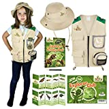 Kids Explorer Costume including Safari Vest and Hat - Perfect gift for boys and girls aged between 3-7 - Role play as paleontologist zoo keeper park ranger or fishing. Includes bonus dinosaur content