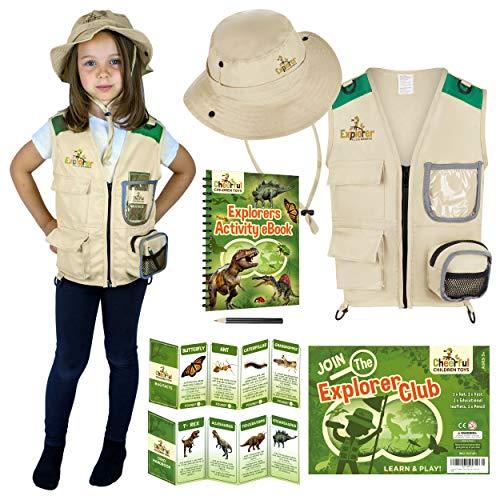 Disfraz de explorador para nios, incluye chaleco y sombrero de safari, regalo perfecto para nios y nias de entre 3 y 7 aos, juego de rol como paleontlogo zoolgico guardabosques o pesca.