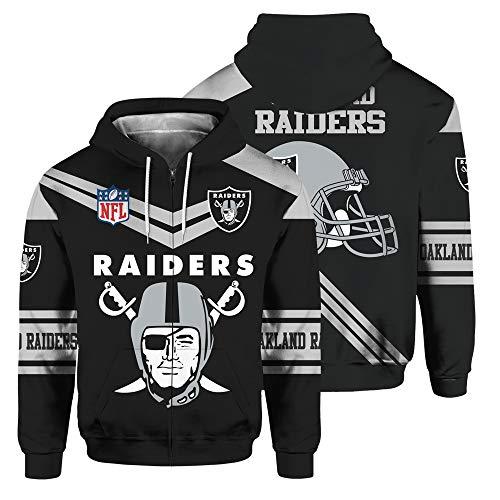 SryWj NFL-Kapuzenpullover, Anhänger von Oakland Raiders, 3D-Gedruckter, gefärbter Pullover, geeignete Kleidung für Männer und Frauen