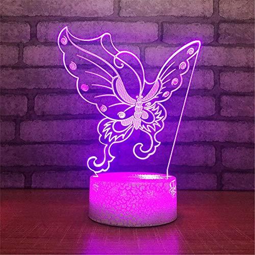 LBJZD luz de noche Alas De Mariposa Acrílicas 3D Led Luz De Noche Lámpara De Escritorio De Mesa De Ilusión Luz De Bulbo Multicolor Con Interruptor Táctil Regalo Con Mando A Distancia