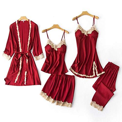 GHRFZC Conjunto de Pijama de Verano - Sexy Mujeres Pijama Conjunto V-Cuello camaneros Usar Ropa de Noche Negligee en casa lencería Pijama Nighty Bata Traje Traje de Dormir, Rojo de 5 Piezas, M