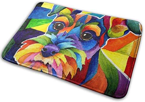 Love girl Colorido Schnauzer Dog Welcome Felpudo Super Absorbente Antideslizante Alfombrilla Delantera, Alfombras de Entrada Lavables Interior Exterior