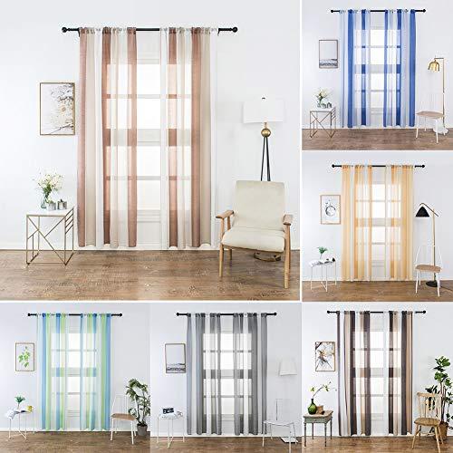 XdiseD9Xsmao raamgordijn, gestreept, duurzaam, prachtige tule met laag gewicht, voor hotels, terrassen en slaapkamers