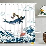 Stacy Fay Lustiger Duschvorhang mit 12 Haken, Duschvorhänge Set für Badezimmer, Wasserdichter Polyesterstoff Vorhang, 72 x 72 Zoll, Cartoon Hut Katze & Wal auf dem Meer