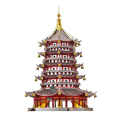 piececool 3D Lasergeschnittenes DIY traditionelles chinesisches Architekturmodell Metallmodell-Puzzles für Erwachsene- Leifeng Tower-796pcs