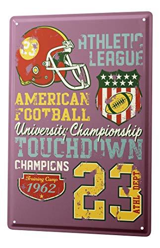 LEotiE SINCE 2004 Blechschild Vintage Retro Metallschild Wandschild Blech Poster Nostalgie American Football