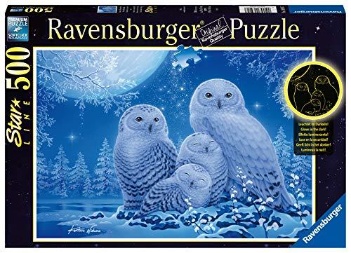 Ravensburger Puzzle 16595 - Eulen im Mondschein - 500 Teile Puzzle für Erwachsene und Kinder ab 10 Jahren Leuchtpuzzle, Leuchtet im Dunkeln