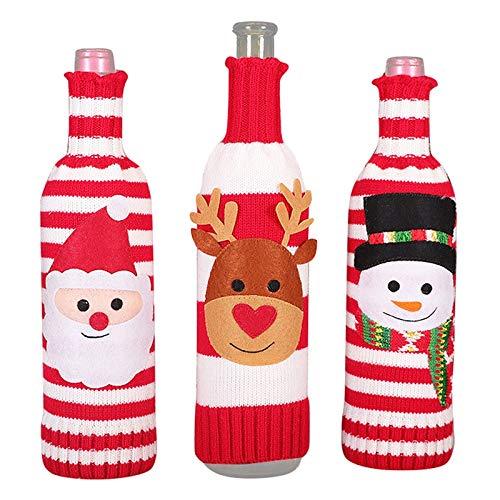 Heritan 3 piezas de Navidad botella de vino cubierta de Navidad decoración bolsa de botella de vino para el hogar vacaciones decoraciones de Navidad