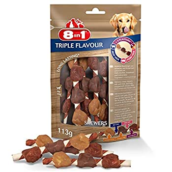 8in1 Triple Flavour Skewers – 6 Brochettes à Mâcher pour Chien adulte – Plus de viande, plus de durée de mâche - Limite le Tartre - Sans OGM, Conservateur Artificiel