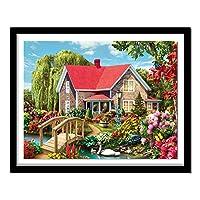 子供のためのダイヤモンドキット付きフルドリルペイント 刺繡クロスステッチ、リビングルームの壁の装飾のためのアートクラフトサプライ 絵画レッドハウス、5D、ラインストーン、ステッチ、風景、80X60cm