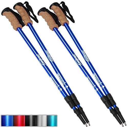 Physionics–Bastones telescópicos para caminata nórdica, con 3puntas antigolpes (colores/Cantidad a elegir), azul, Set de 1