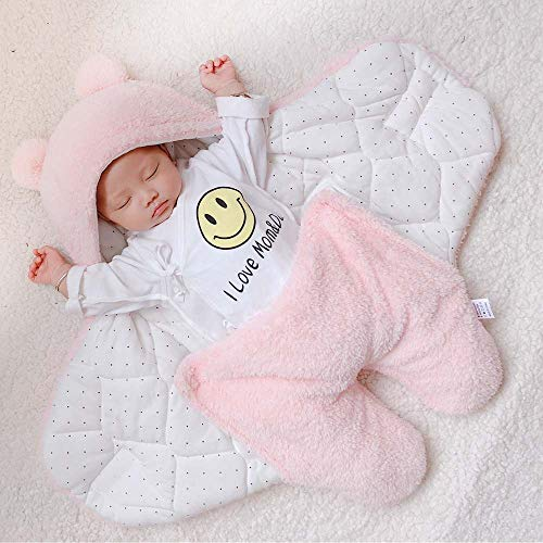 PDXTZ Saco de Dormir para bebés recién Nacidos, Baby Shower, Cálido y Cómodo Colcha de bebé para cochecitos, cunas o sillas de Paseo 3m/6m,Rosado,3M