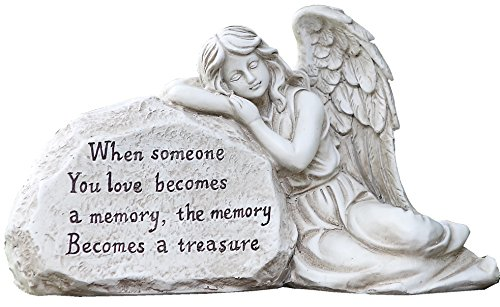 Napco 11293 Memory Becomes a Treasure Memorial Plaque with Sleeping Angel Garden Statue, 12.5 x 6.75