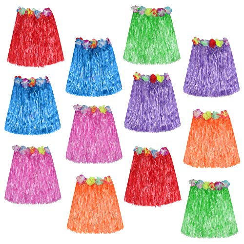 Hula Röcke (12er-Set) - 42cm Lange Multicolor Lei Hawaiian Grass Rock mit elastischem Bund, Klettband und Blumen für Hawaiikette Tänzer, Frauen, Mädchen und Erwachsene
