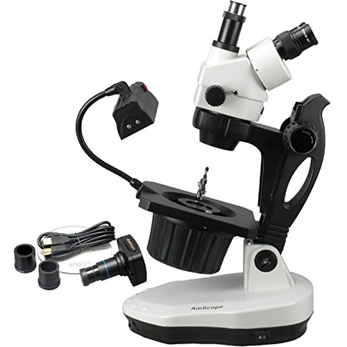 AmScope GM400TZ-10M Digital Trinocular Gemology Stereo Zoom Microscope, WH10x Eyepieces, 3.5X-90X Magnification, 0.7X-4.5X Zoom Objective, Halogen and Fluorescent Lighting, Inclined Pillar Stand, 110V-120V, Includes 0.5X and 2.0X Barlow Lenses, 10MP Camera with Reduction Lens, and Software