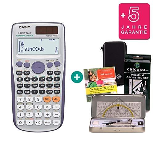 Streberpaket: Casio FX-991ES Plus + Schutztasche + Lern-CD (auf Deutsch) + Geometrie-Set + Erweiterte Garantie