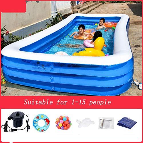 Eastbride Sommerwasserparty Für Erwachsene,Dickes aufblasbares Schwimmbad, zusammenklappbares Sonnenschutz-Gartenschwimmbad - 4,28 Meter,Runder Aufblasbarer Schwimmbad Pool