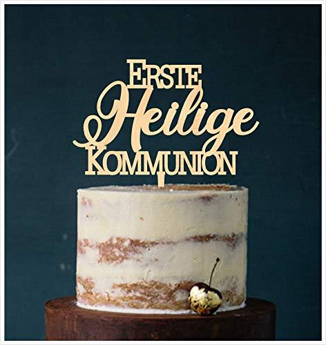 Manschin-Laserdesign Cake Topper Erste Heilige Kommunion,Tortenstecker, Tortenfigur Acryl, Hochzeit Wedding Hochzeitstorte (Holz) Art.Nr. 5090