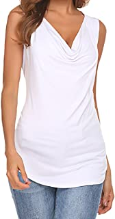 Womens Cowl Neck Ruched Sleeveless Blouse Casual Slim Fitted Shirt Tank Tops