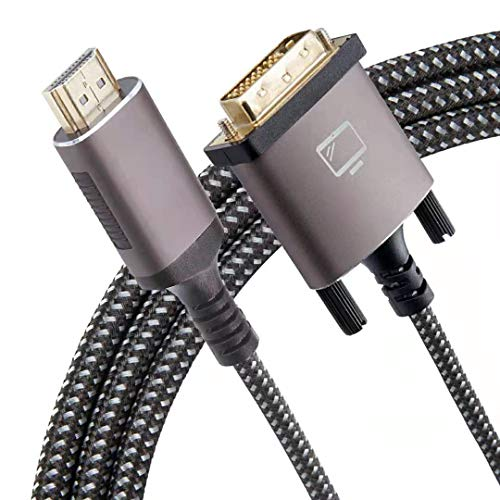 HDMI to DVI Cable 6 Feet BiDirectional Nylon Braid Support 1080P Full DVID Male to HDMI Male High Speed Adapter Cable Gold Plated for PS4 PS3HDMI Male A to DVID 6FT