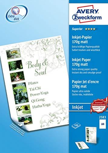 AVERY Zweckform 2583 Superior Inkjet Papier (A4, beidseitig beschichtet, matt, 170 g/m², 100 Blatt)