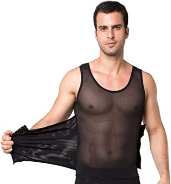 Men Compression Vest Body Shaper Slimming Shirt High Elasticity Shapewear with 3 Row Hook