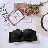 Unsichtbarer BH Das neue Upgrade für Frauen umfasst Unterwäsche mit flacher Brust, riemenfreier aufblasbarer kabelloser Frontschnallen-BH mit trägerloser kabelloser Frontschnalle in Schwarz (38 / 85C)