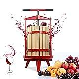 Fruit Wine Cider Press - Solid Wood Basket- 4.75 Gallon/18L-T Handle Bar-More Stable,Apple Grape Crusher for Juice Maker,Kitchen