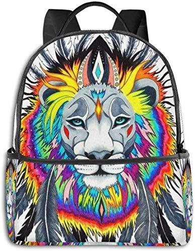 Schulrucksack, großes Fassungsvermögen, Rucksack für Camping, Picknick, Fahrrad, Blau Indischer König der Löwen Federn Kunst Weiß Einheitsgröße