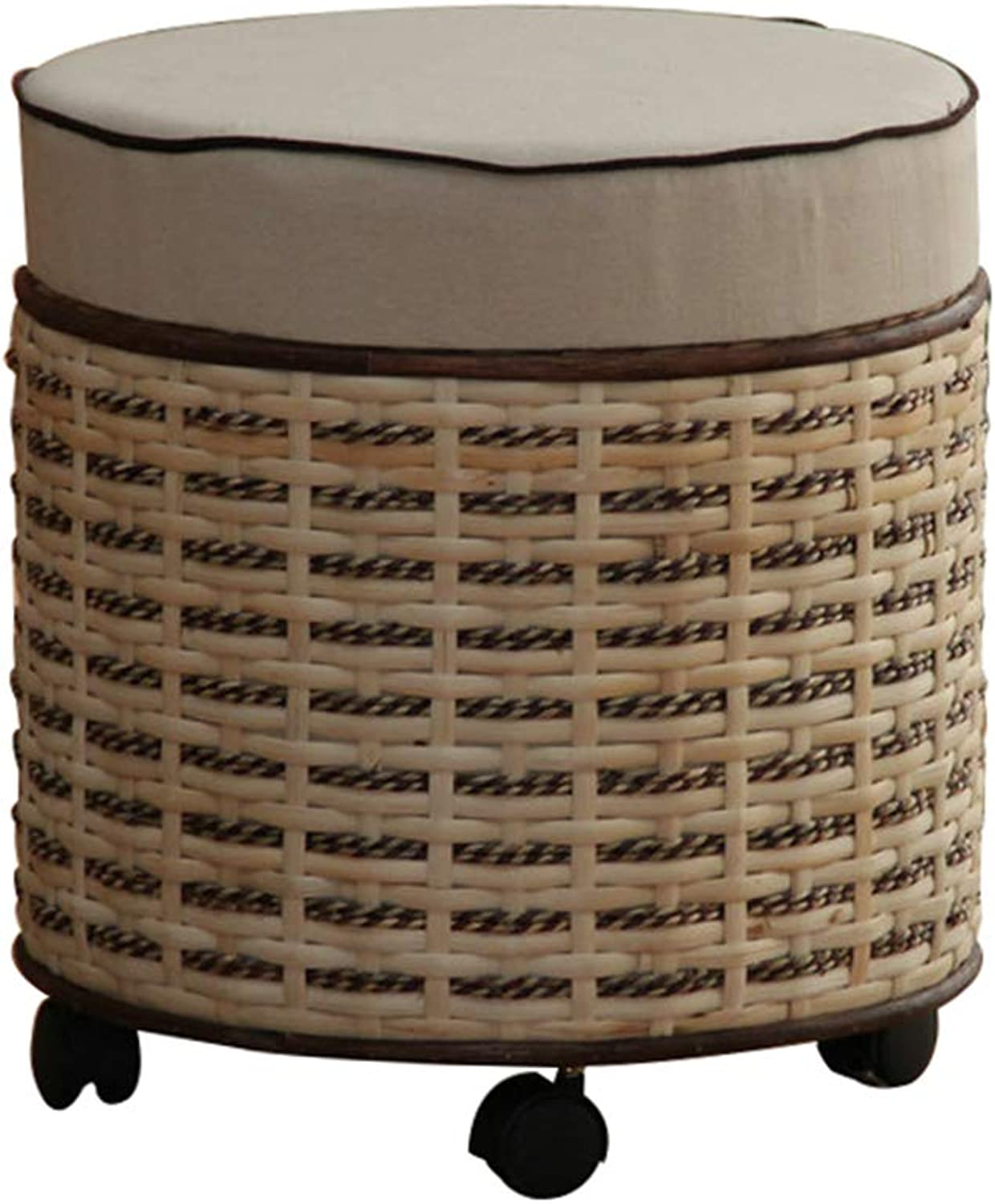 Storage Bench with Wheels, Round Large Capacity Storage Box with Lid - Home shoes Change Stool - Creative Rattan Storage Stool
