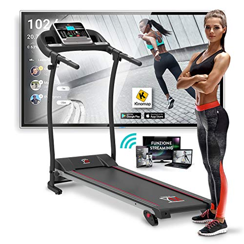 YM Tapis Roulant Elettrico Pieghevole 11 km/h, App KINOMAP & ZWIFT Coaching/Video, Sensore Cardio, Inclinazione Regolabile, 12 Programmi, Lubrificazione Automatica Bluetooth 750W (1800W - 2,5HP picco)