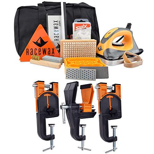 RaceWax Carver Ski Wax Tuning Kit Plus Ski Vise (Accepts Snowboard Adapter)