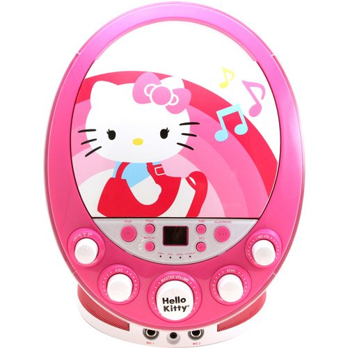 Sakar Hello Kitty Cd+g Karaoke Machine with Lights - Pink - Karaoke CDG Players - Children's Gadget - Portable - Displays Song Lyrics on Your Television Screen - Enhanced Vocal Effects with Echo