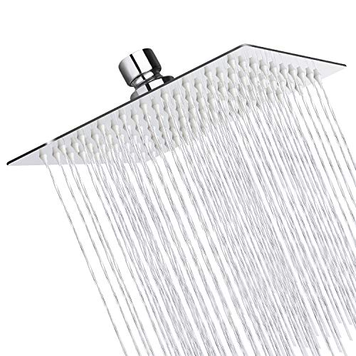 Sooreally Rain Shower Head High Pressure, 8 Inch Stainless Steel Square Rainfall Showerhead, Mirror-like, Tool Free Easy Install, Swivel Spray Angle, Voluptuous Shower Experience, Chrome Finish