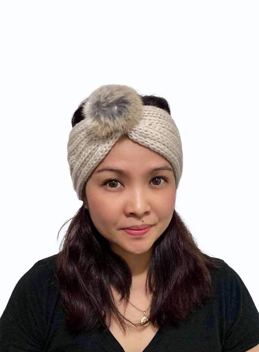Fashion Headband, Knitted Headband with Pompom, Ear Warmer Headband, Women's Winter Headband, Stylish Headband, Gift for Women (Beige)