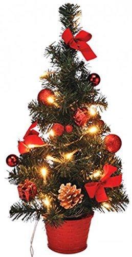 Gravidus Künstlicher Weihnachtsbaum geschmückt mit LED-Lichterkette 40 cm (rot)