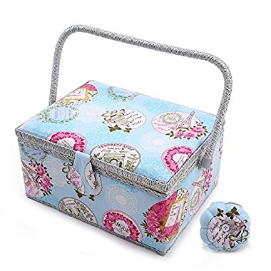 SAXTX Large Sewing Basket with 100Pcs Sewing Kit Accessories| Romantic Wooden Sewing Box Organizer| Birthday Gift Boxes | 12 1/5 x 9 x 6 1/3 inches