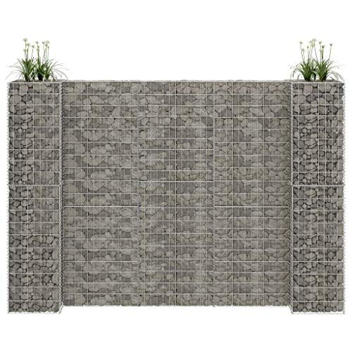 Unfade Memory Gabion Cages Wall Barrier Planter, Steel Wire Stone Basket H-Shaped Garden Edging (223.6'x15.7'x78.7')