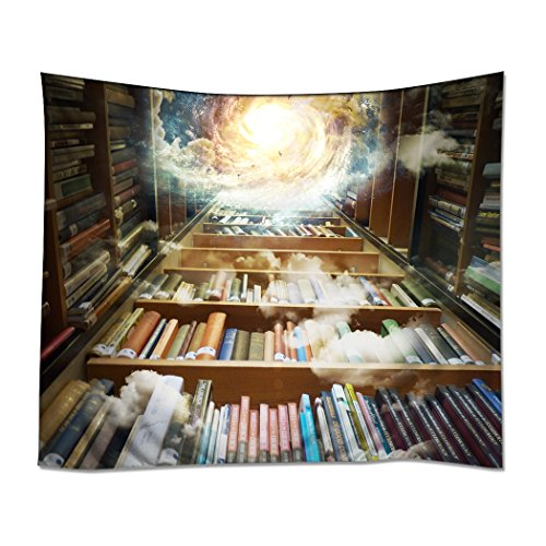 YISUMEI 150x130 cm Tapisserie Wandteppich Wandbehang Tabelle Vorhang Wand Decor Tisch Couch Bezug Picknick Decke Beach Überwurf Bibliothek Bücherregal Bücher Wissen Galaxy