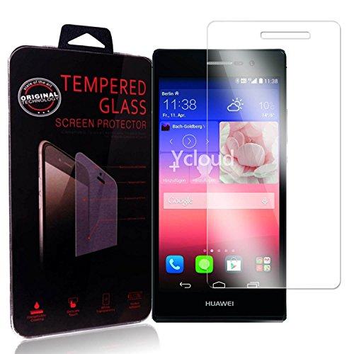 Ycloud Panzerglas Folie Schutzfolie Bildschirmschutzfolie für Huawei Ascend P7 screen protector mit Festigkeitgrad 9H, 0,26mm Ultra-Dünn, Abger&ete Kanten